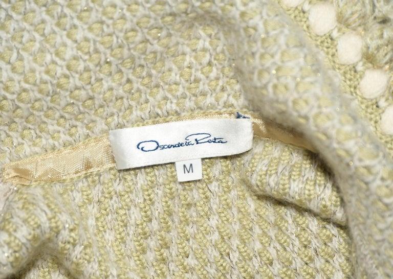 Women's Oscar de la Renta Pale Green Cashmere & Wool Crochet Jacket Size M For Sale