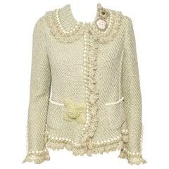 Oscar de la Renta Pale Green Cashmere & Wool Crochet Jacket Size M