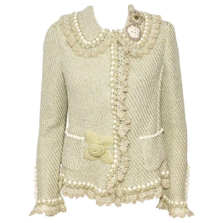 Oscar de la Renta Pale Green Cashmere & Wool Crochet Jacket Size M For Sale