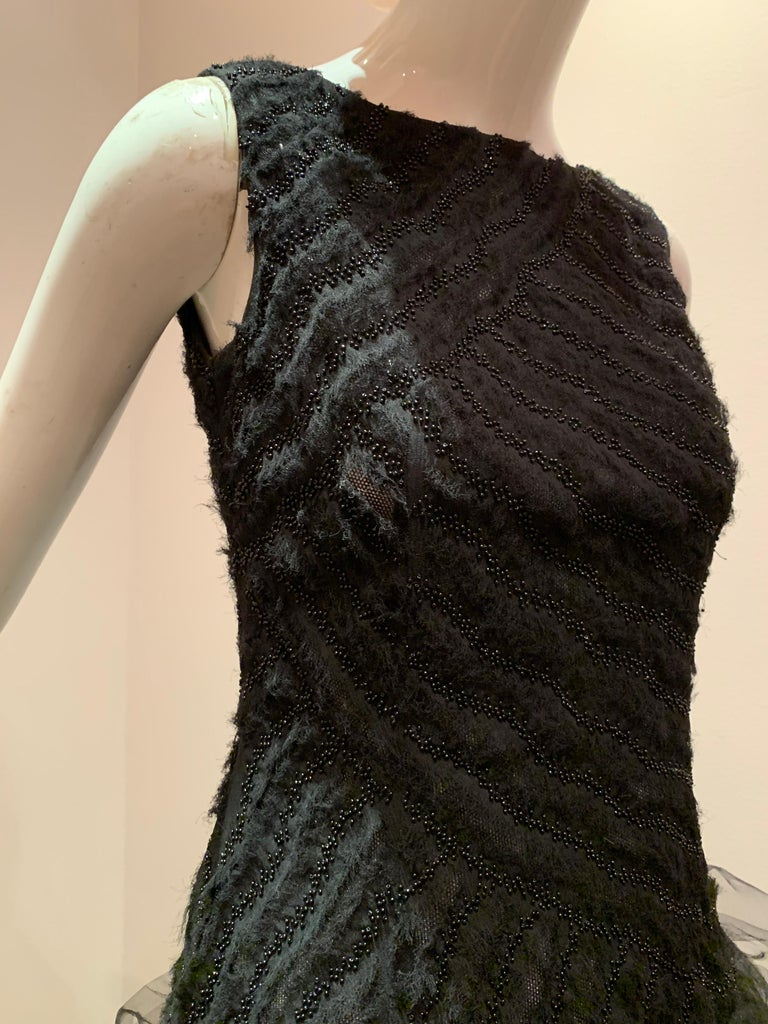 Oscar de la Renta Cocktail Dress W/ Tiered Tulle Beading & Ostrich Feathers For Sale 8