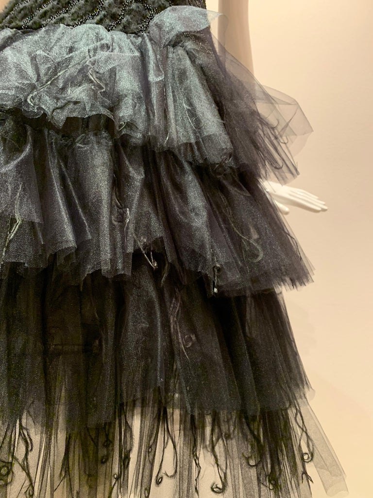 Oscar de la Renta Cocktail Dress W/ Tiered Tulle Beading & Ostrich Feathers For Sale 1