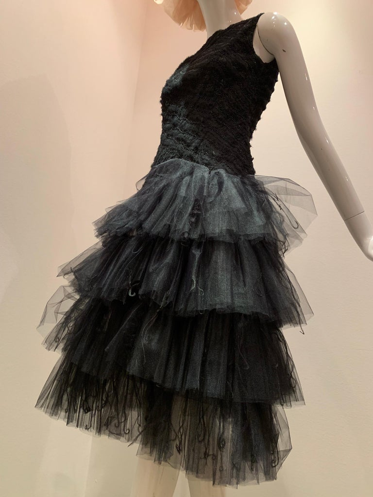 Oscar de la Renta Cocktail Dress W/ Tiered Tulle Beading & Ostrich Feathers For Sale 4