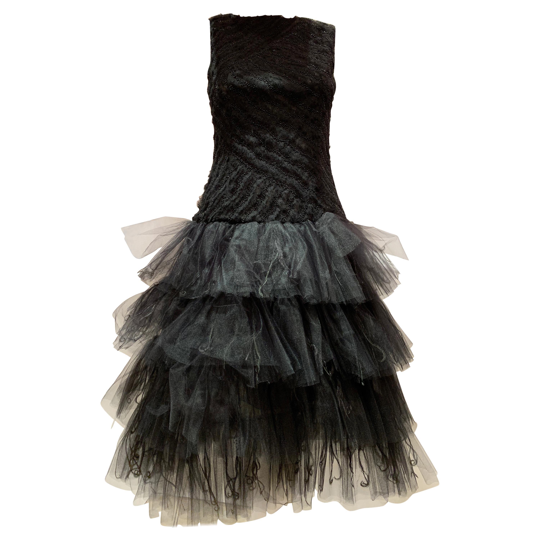 Oscar de la Renta Cocktail Dress W/ Tiered Tulle Beading & Ostrich Feathers