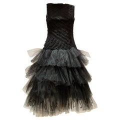 Oscar de la Renta Cocktail Dress W/ Tiered Tulle Beading & Ostrich Feathers