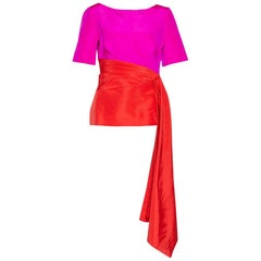 Oscar de la Renta Color Block Silk Faille Draped Top M