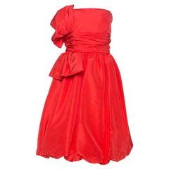 Oscar de la Renta Coral Pink Silk Taffeta Strapless Dress M