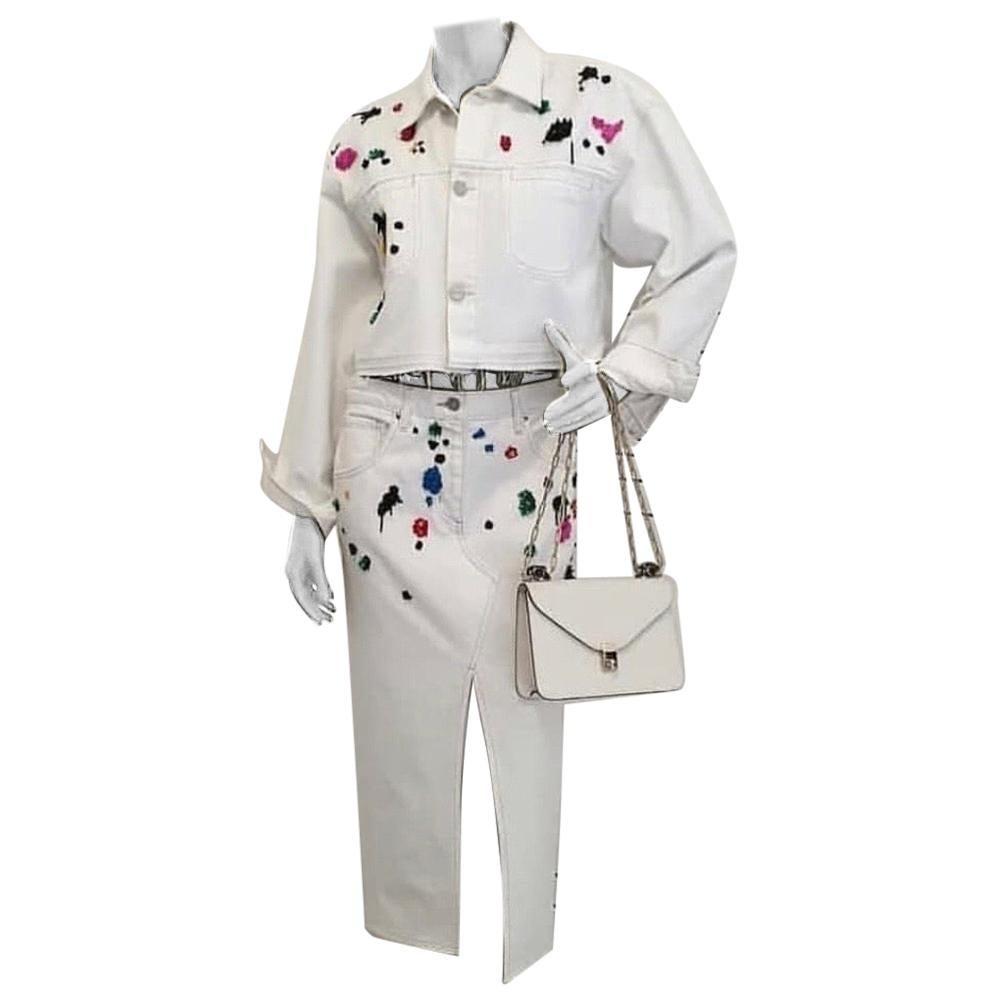 Oscar De La Renta Cotton Jacket Skirt Suit