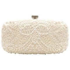 Oscar De La Renta Cream Lace Embellished Clutch Bag