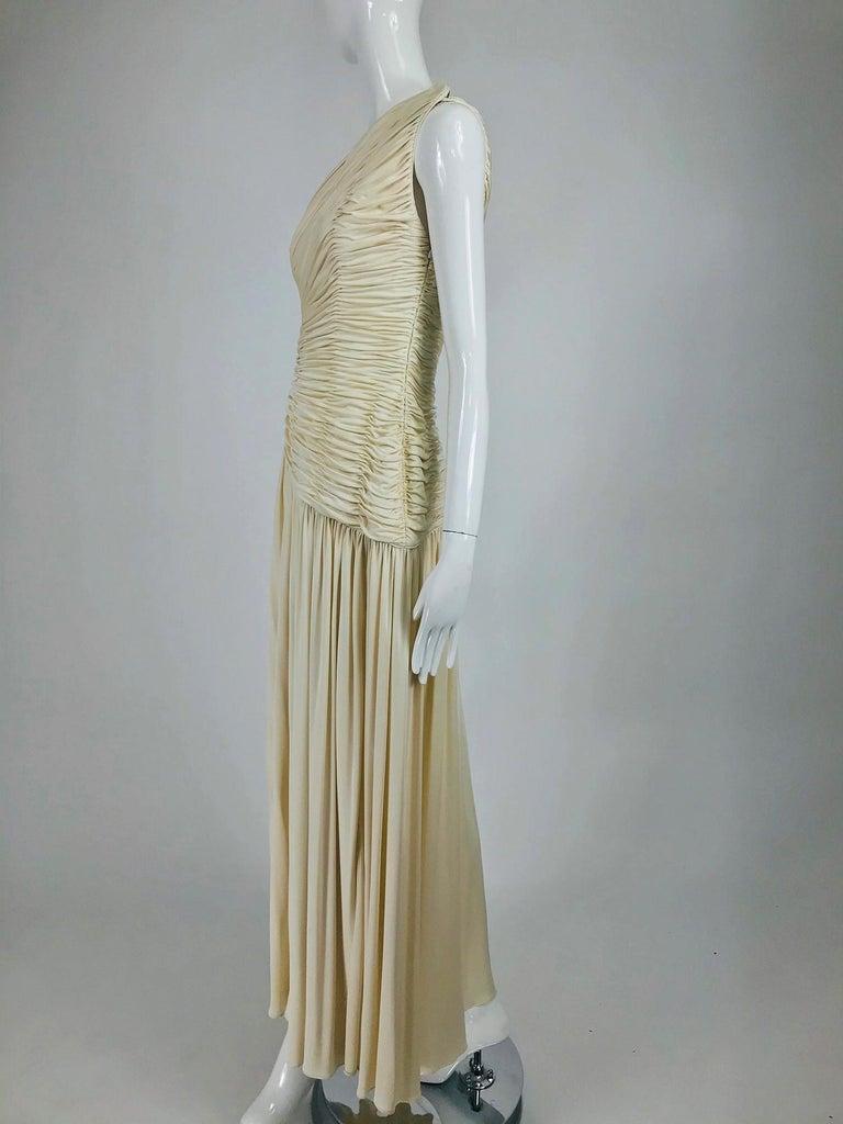 Gray Oscar de la Renta Cream Shirred Bodice One Shoulder Gown 1990s For Sale
