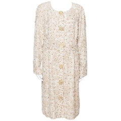 Oscar de la Renta Cream Silk Embellished Coat Dress XL