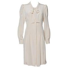 Oscar de la Renta Cream Silk Neck Tie Detail Button Front Shirt Dress L