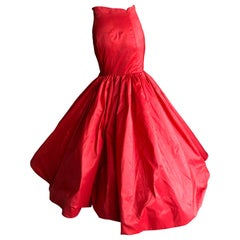 Oscar de la Renta Dramatic Vintage Red Silk Taffeta Mermaid Ball Skirt New Sz 2