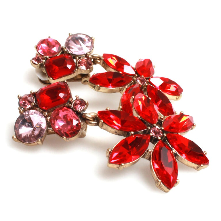 Pink and red Oscar de la Renta clip on earrings with dangling flower drop. Clip on backs. Made in USA.