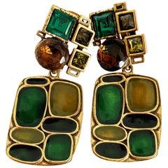 Oscar de la Renta Earrings Statement Modernist Dangle Vintage 3in Drop