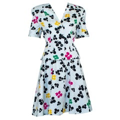 Oscar de la Renta/Elizabeth Arden Multicolor Floral Circle Skirt Suit - M, 1980s