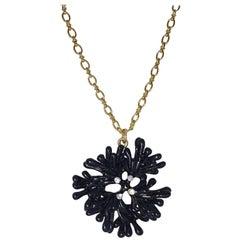 Oscar de la Renta Embellished Black Crystal Coral Motif  Pendant on Gold Chain