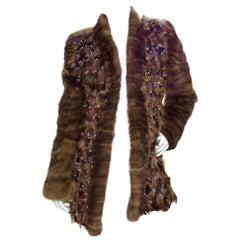 Oscar de la Renta Embellished Fur Coat
