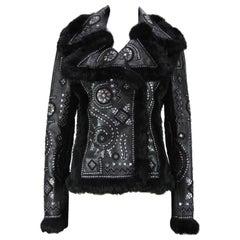 OSCAR DE LA RENTA Embellished Leather Jacket with FOX FUR US 6