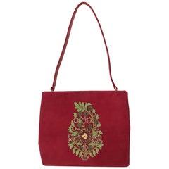 Oscar de la Renta Embroidered Burgundy Suede Frame Hand Bag