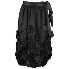 OSCAR DE LA RENTA F/W 2006 Size 6 Black Wool & Angora Floral Embellished Skirt