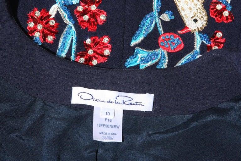 Oscar De La Renta F/W 2018 Runway Wool Cashmere Hand Embellished Jacket US 10 For Sale 6