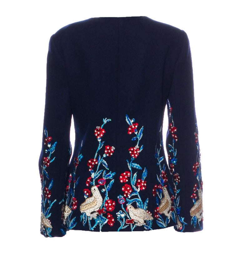 Oscar De La Renta Wool Cashmere Navy Blue Embellished Jacket F/W 2018 Runway Show - Enchanted Forest Shows Oscar de la Renta Hasn't Lost Its Magic Touch. Designer size - 10 Navy Blue, Exclusive Embroidery with Multicolor Sequins and Beads, Fully