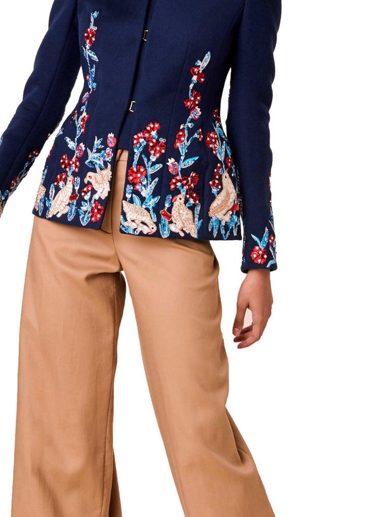 Oscar De La Renta F/W 2018 Runway Wool Cashmere Hand Embellished Jacket US 10 For Sale 1