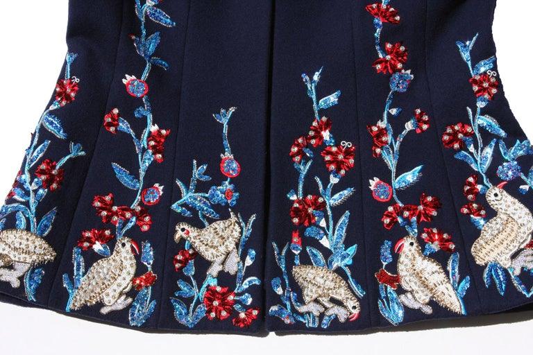 Oscar De La Renta F/W 2018 Runway Wool Cashmere Hand Embellished Jacket US 10 For Sale 2