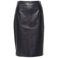 "OSCAR DE LA RENTA F13 100% lamb leather fitted pencil skirt US0 XS 26"""