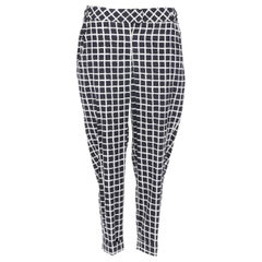 OSCAR DE LA RENTA F15 wool cotton black white check print elasticated pants US6