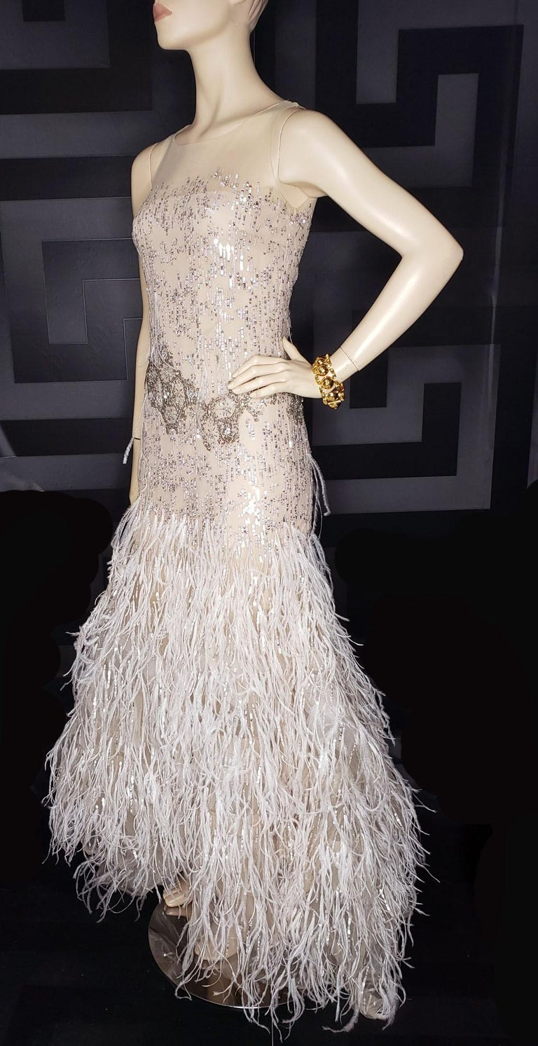 Beige OSCAR DE LA RENTA FEATHER and SEQUIN EMBELLISHED NUDE TULLE GOWN For Sale