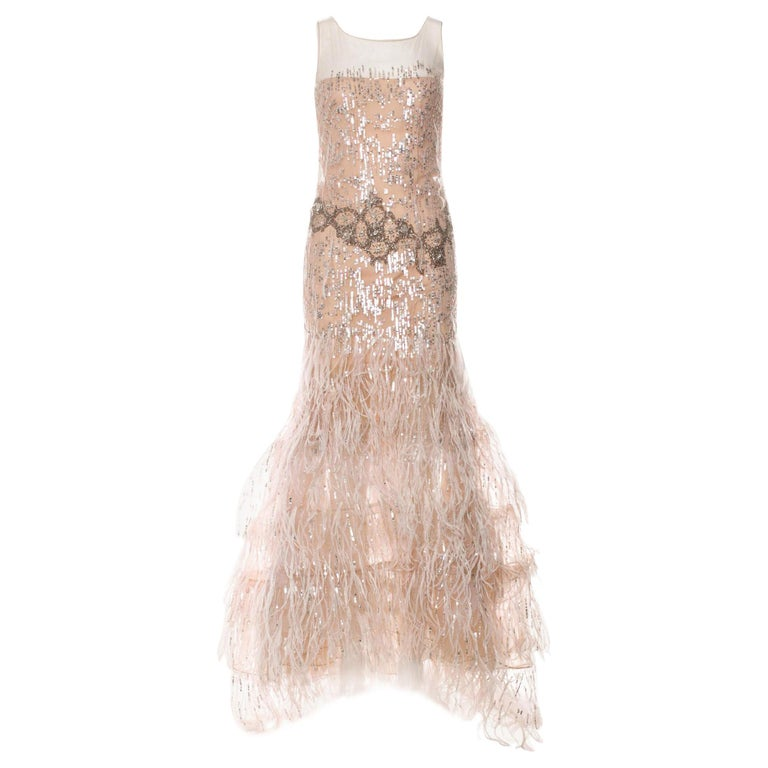 OSCAR DE LA RENTA FEATHER and SEQUIN EMBELLISHED NUDE TULLE GOWN For Sale