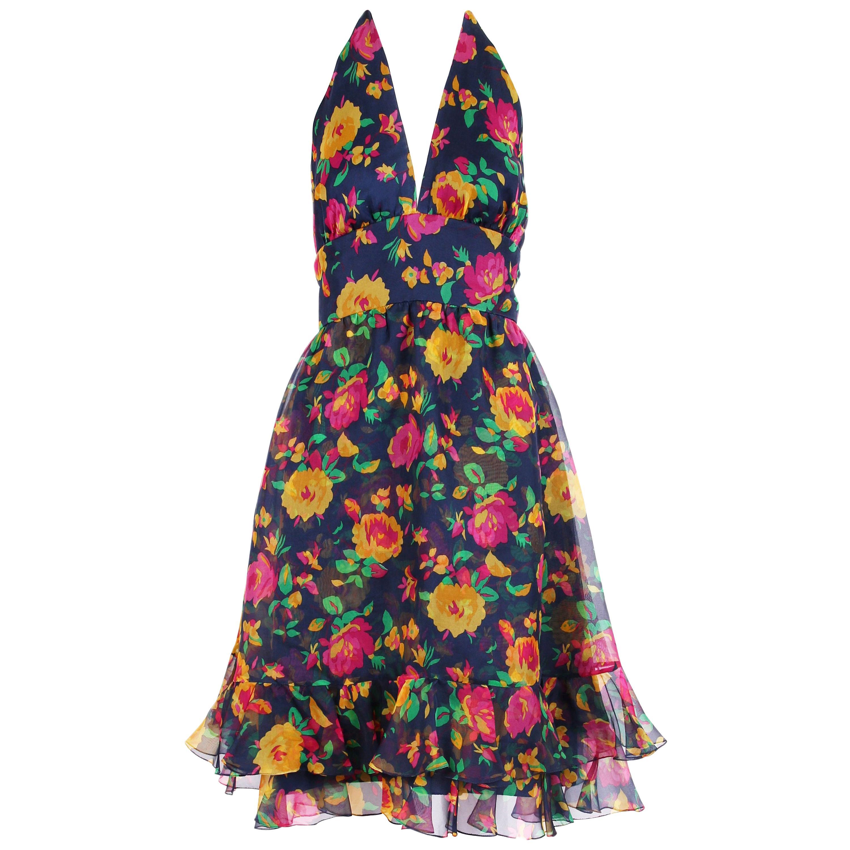Oscar de la Renta Floral Organza Multi-Layered Halter Day Dress