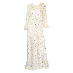 Oscar de la Renta Floral Print Maxi Dress/Gown