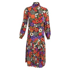 Oscar de la Renta Floral Silk Crepe Drop Waist Dress Late 1960s