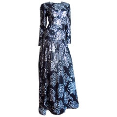 Oscar de la Renta Flower Sequin Silk Gown