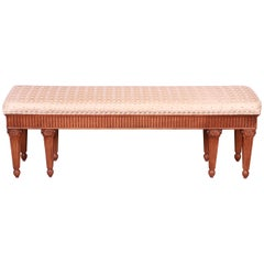 Oscar De La Renta for Century French Regency Walnut Silk Upholstered Bench