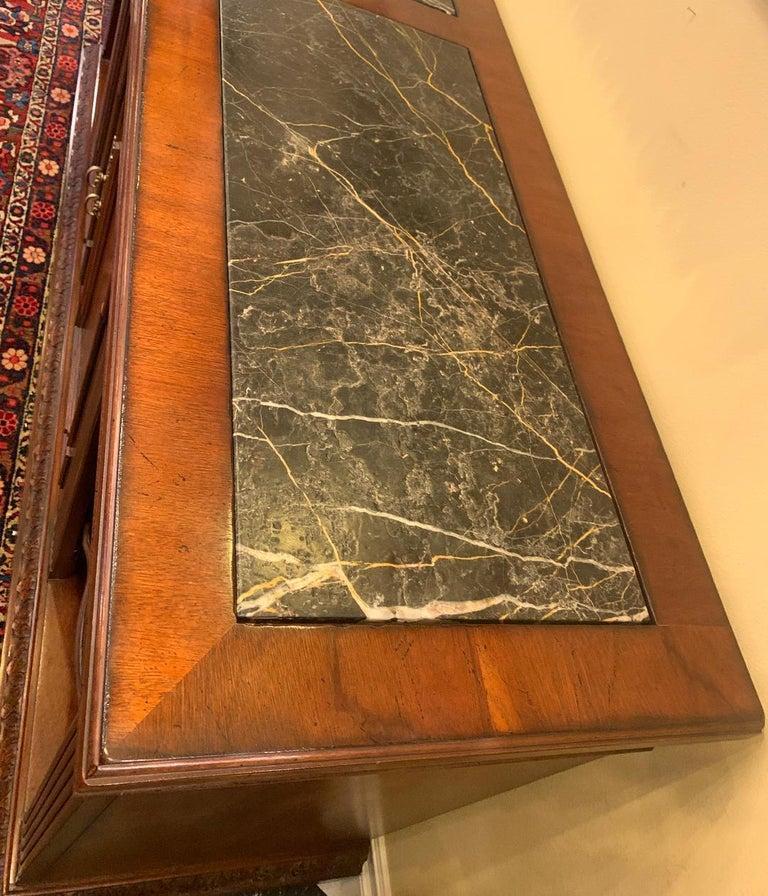 Hardwood Oscar De La Renta for Century Furniture Mahogany Marble-Top Buffet Credenza For Sale