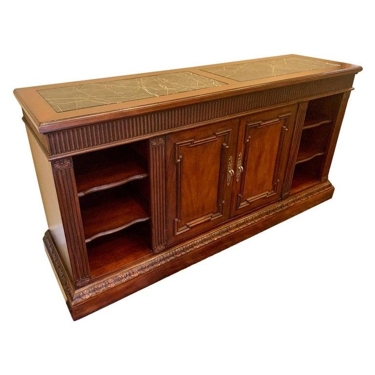 Oscar De La Renta for Century Furniture Mahogany Marble-Top Buffet Credenza For Sale