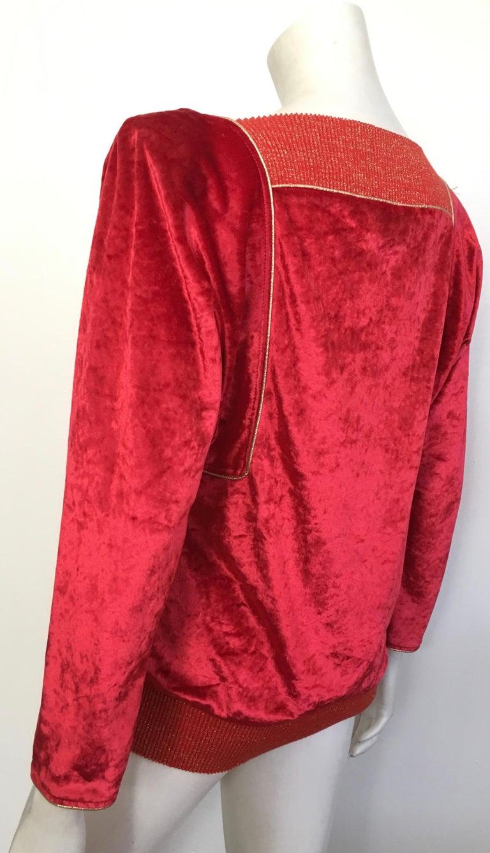 Oscar de la Renta for Swirl 1980s Red Velvet & Metallic Trim Blouse Size P. For Sale 6