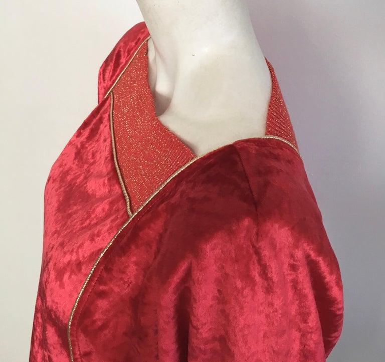 Oscar de la Renta for Swirl 1980s Red Velvet & Metallic Trim Blouse Size P. For Sale 7