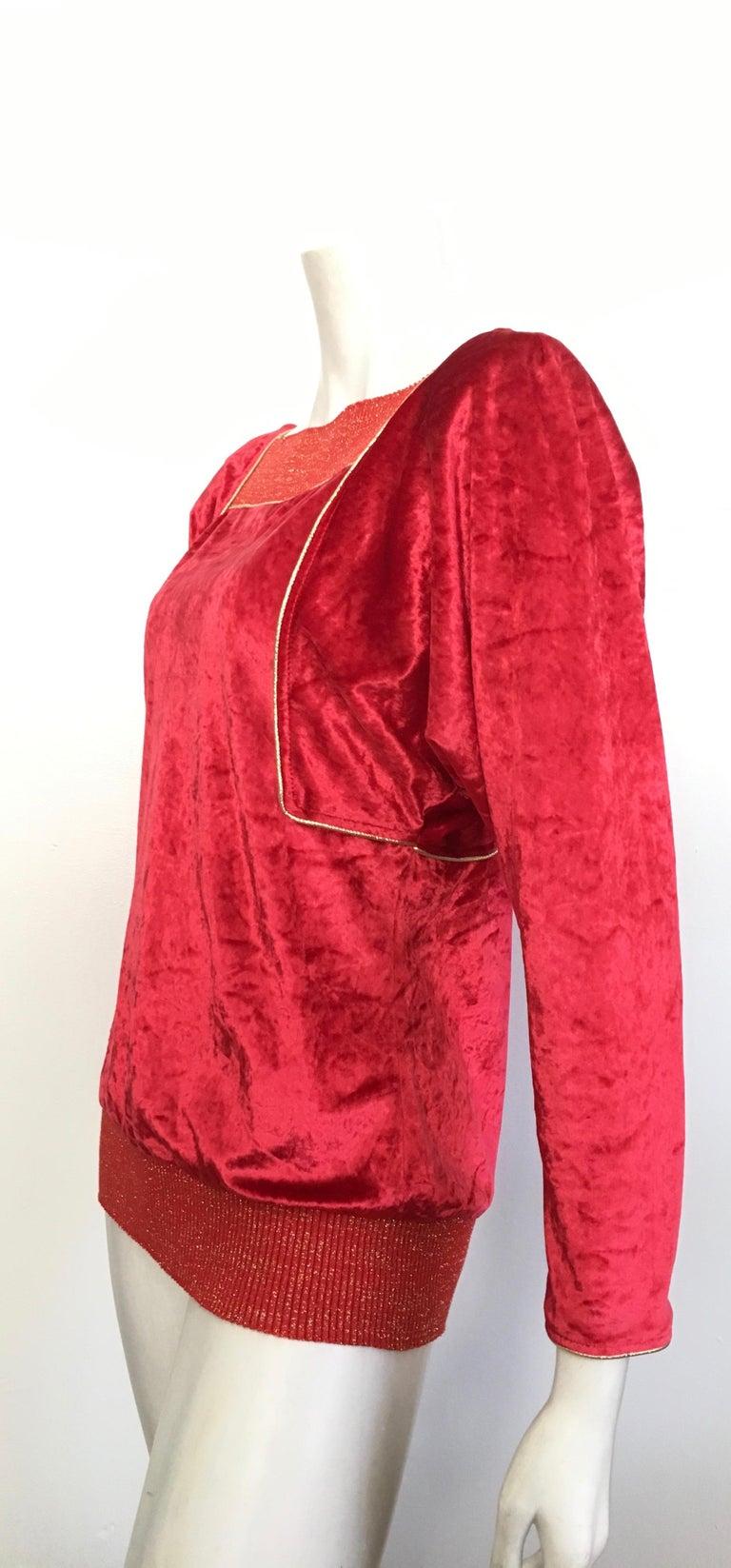 Oscar de la Renta for Swirl 1980s Red Velvet & Metallic Trim Blouse Size P. For Sale 8