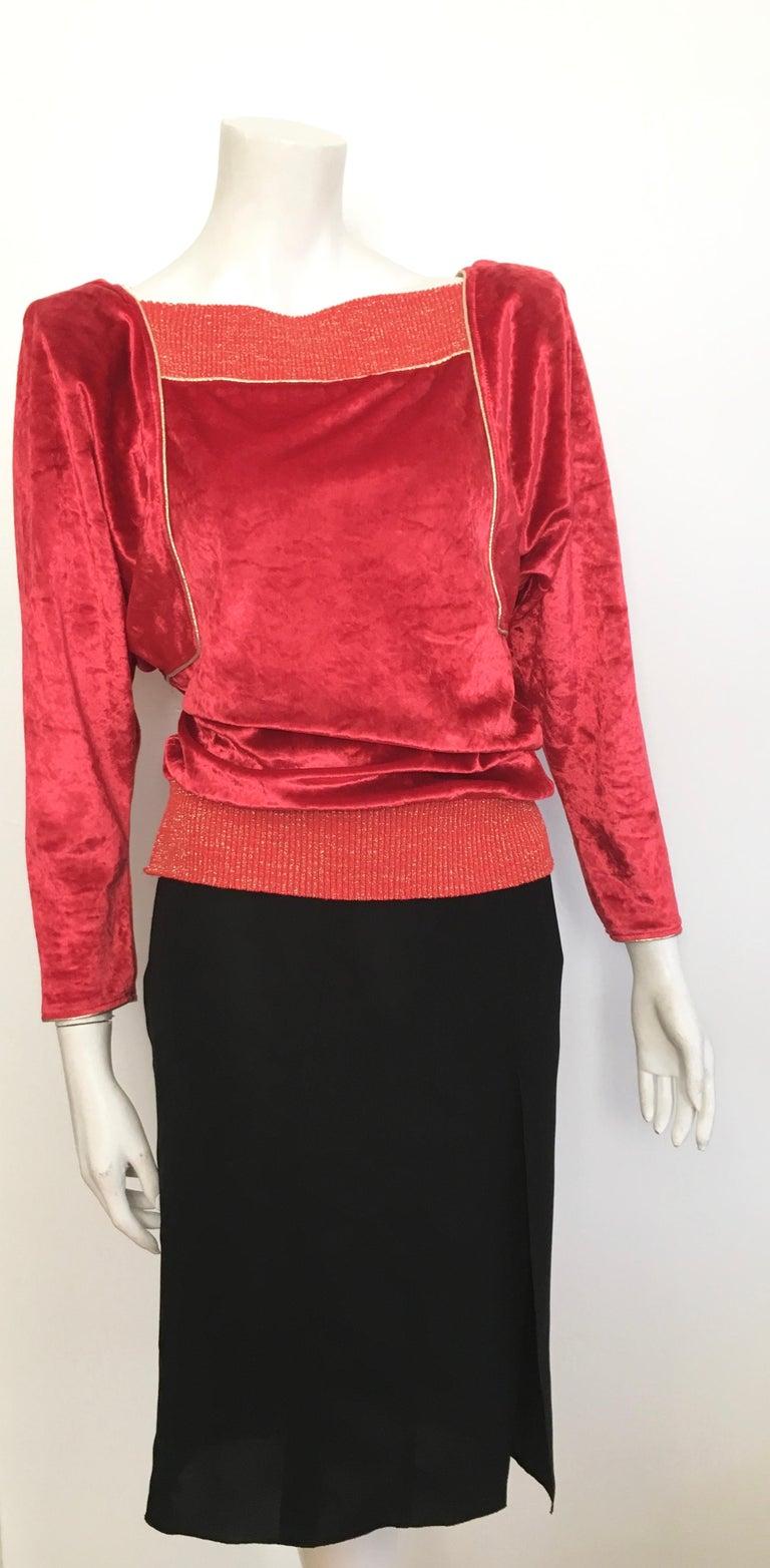 Oscar de la Renta for Swirl 1980s Red Velvet & Metallic Trim Blouse Size P. For Sale 9