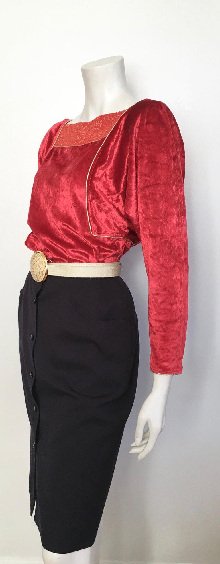 Oscar de la Renta for Swirl 1980s Red Velvet & Metallic Trim Blouse Size P. For Sale 11