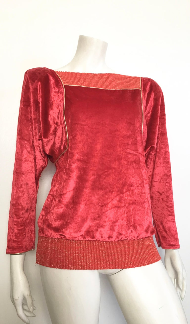 Oscar de la Renta for Swirl 1980s red crushed velvet with gold piping and metallic thread on collar & waistband is labeled a P for petite size.  This gorgeous piece is modeled on Matilda the Mannequin, which wears a size 4, and Matilda looks