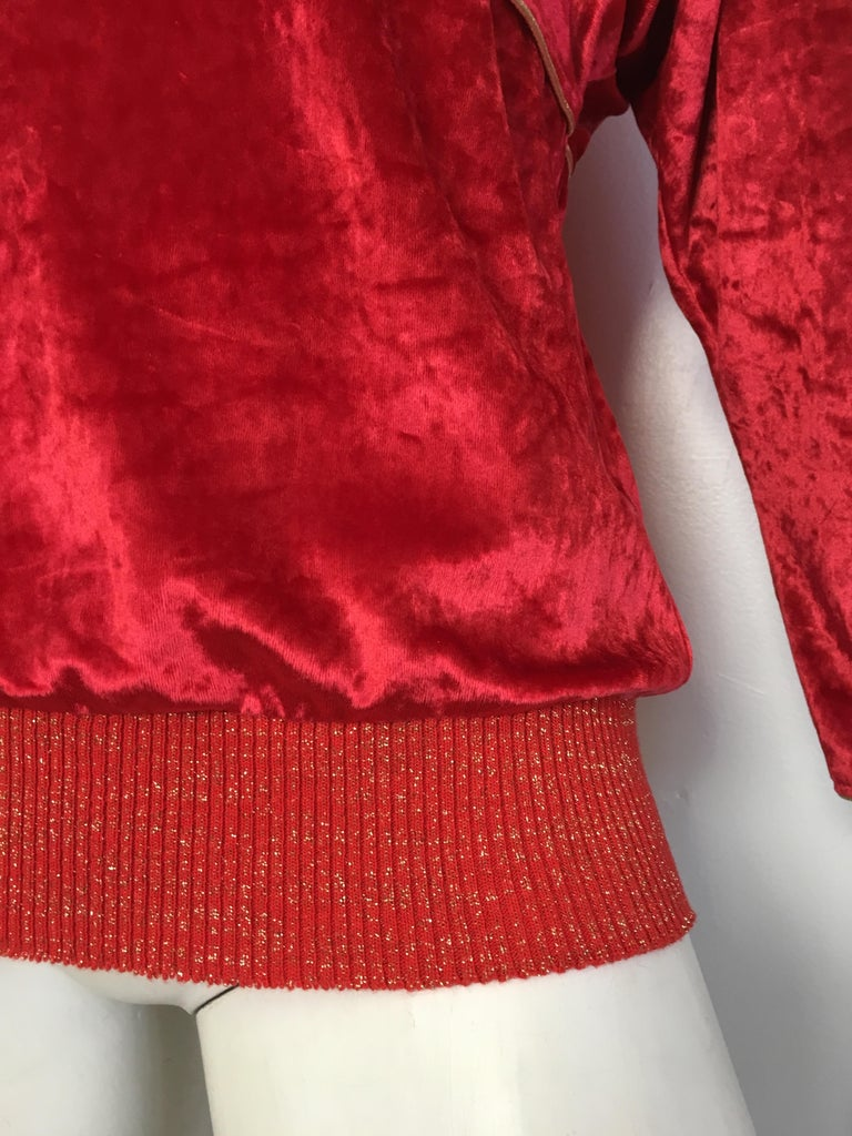 Oscar de la Renta for Swirl 1980s Red Velvet & Metallic Trim Blouse Size P. For Sale 1