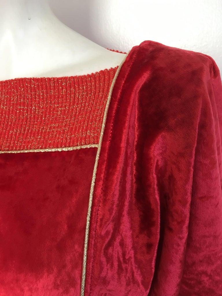 Oscar de la Renta for Swirl 1980s Red Velvet & Metallic Trim Blouse Size P. For Sale 2