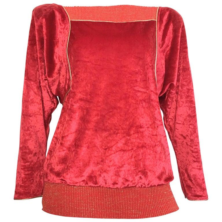 Oscar de la Renta for Swirl 1980s Red Velvet & Metallic Trim Blouse Size P. For Sale