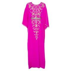 Oscar de la Renta Fuschia Pink Silk Embroidered Detail Belted Maxi Dress M