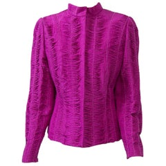Oscar de la Renta Fuschsia Silk Jacket with Tucking